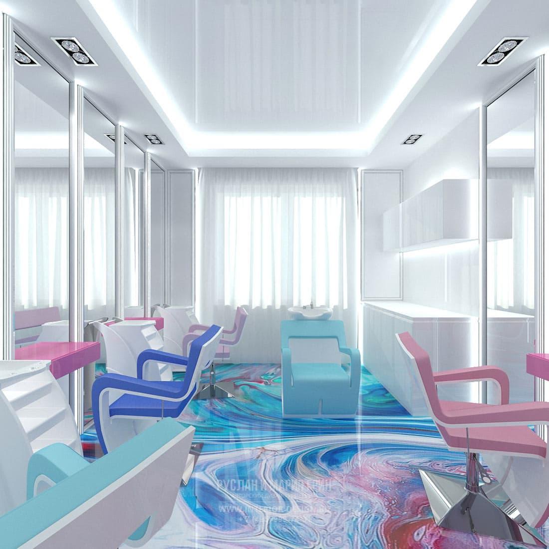 Дизайн-проект парикмахерской зоны в современном салоне красоты