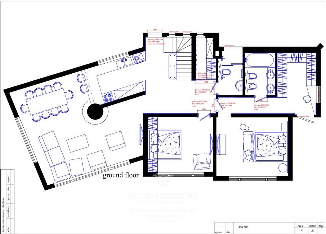 Планировка первого этажа дома в Швейцарии