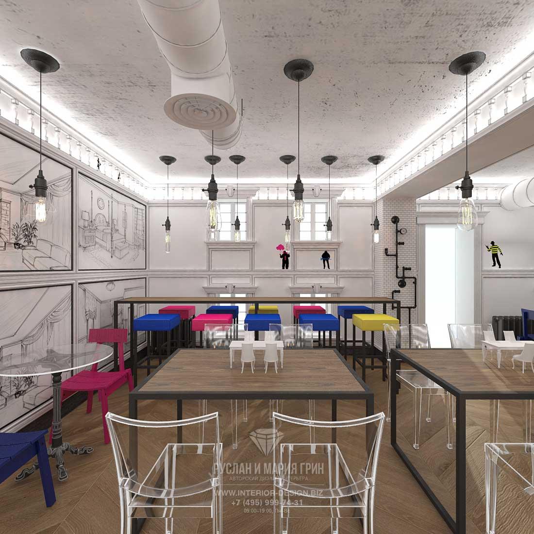 Дизайн интерьера бара в стиле лофт