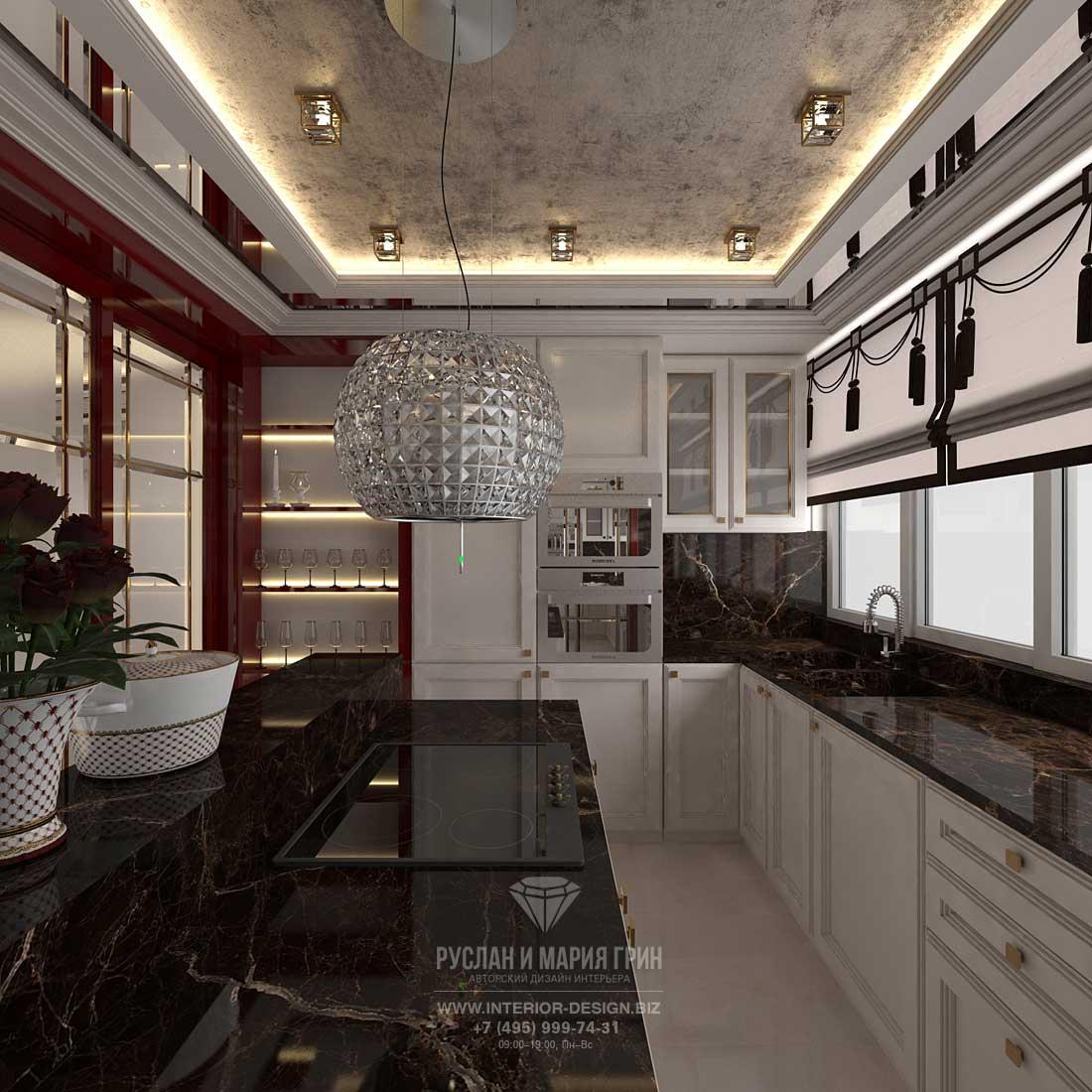Дизайн интерьера кухни с элементами ар-деко