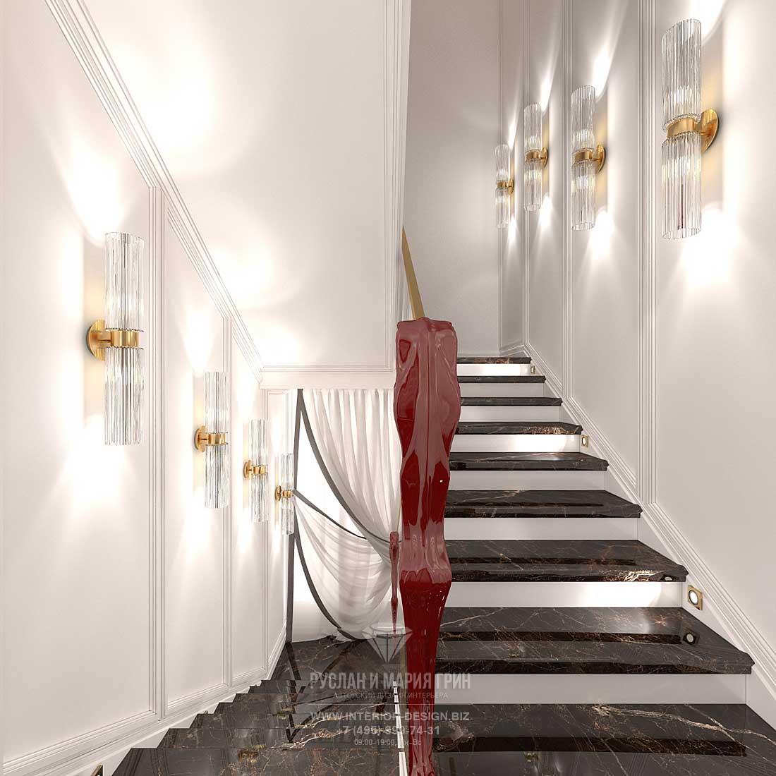 Интерьер роскошной лестницы ар-деко