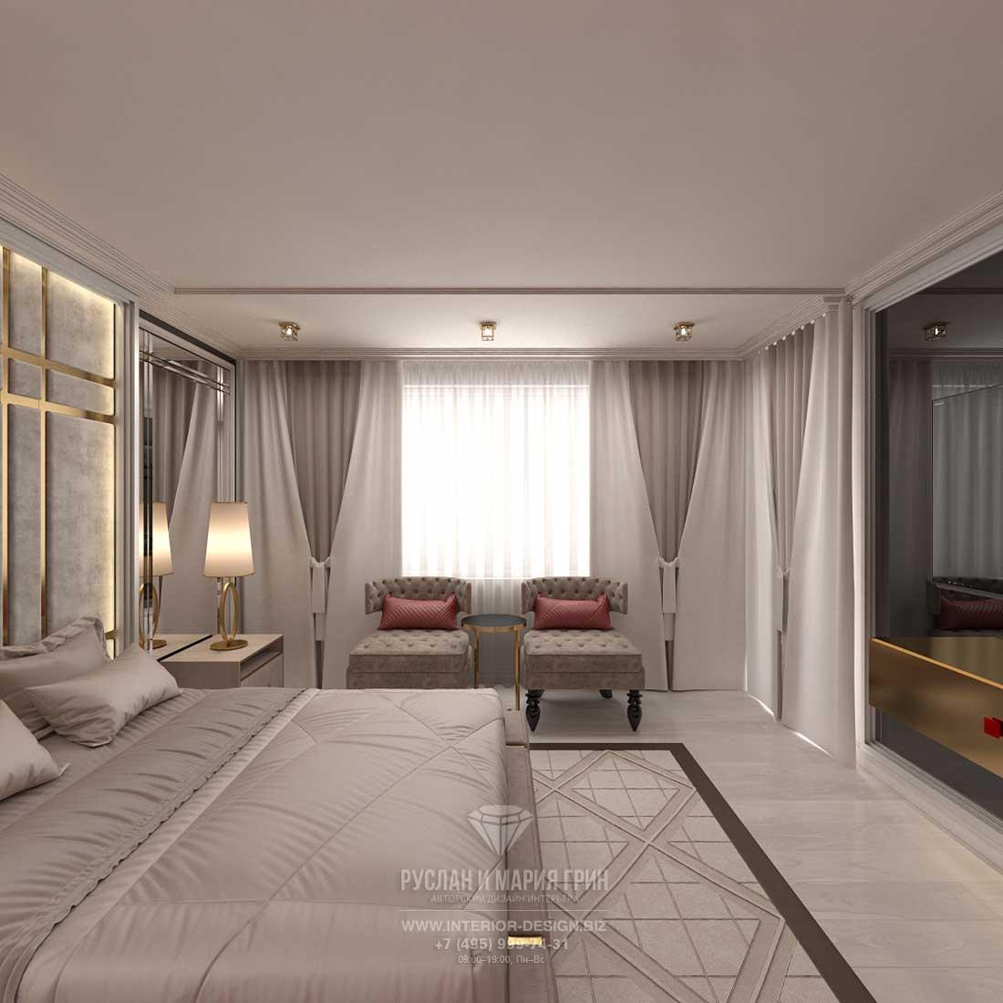 Интерьер просторной спальни в стиле ар-деко