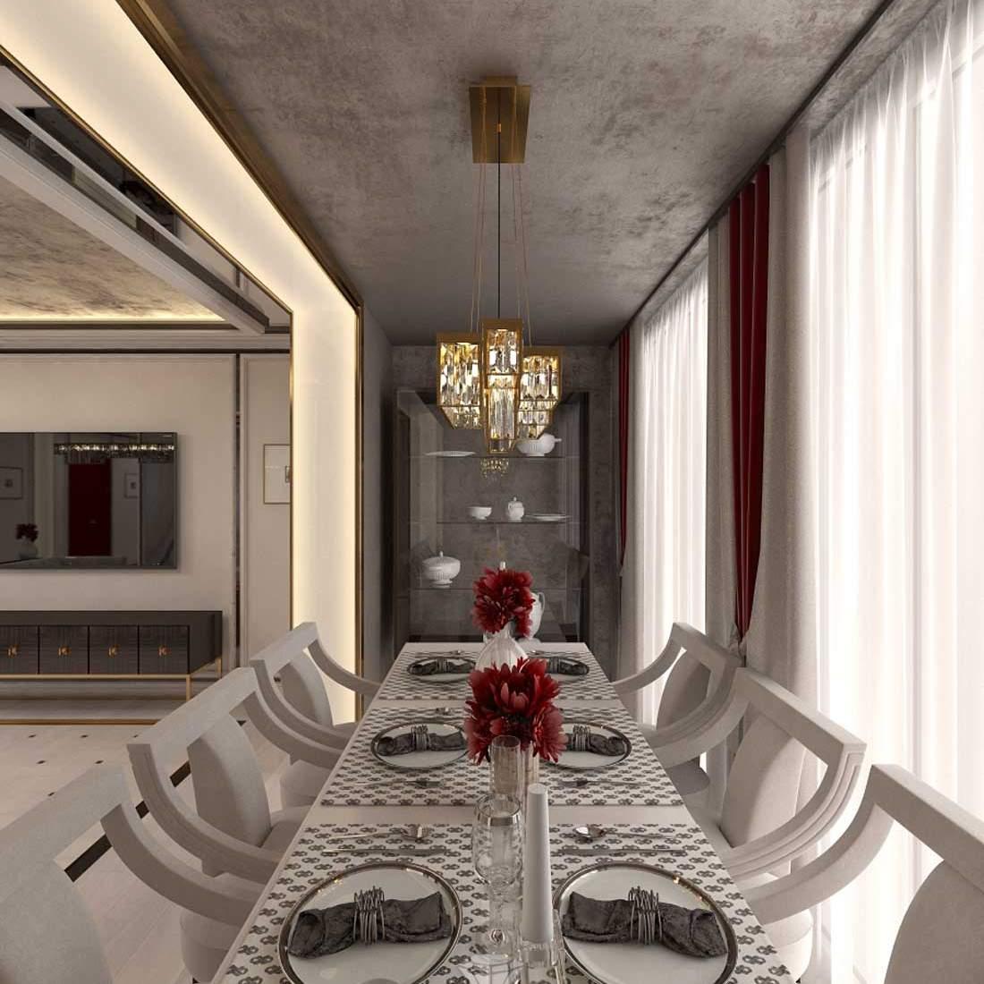 Зона столовой в интерьере гостиной