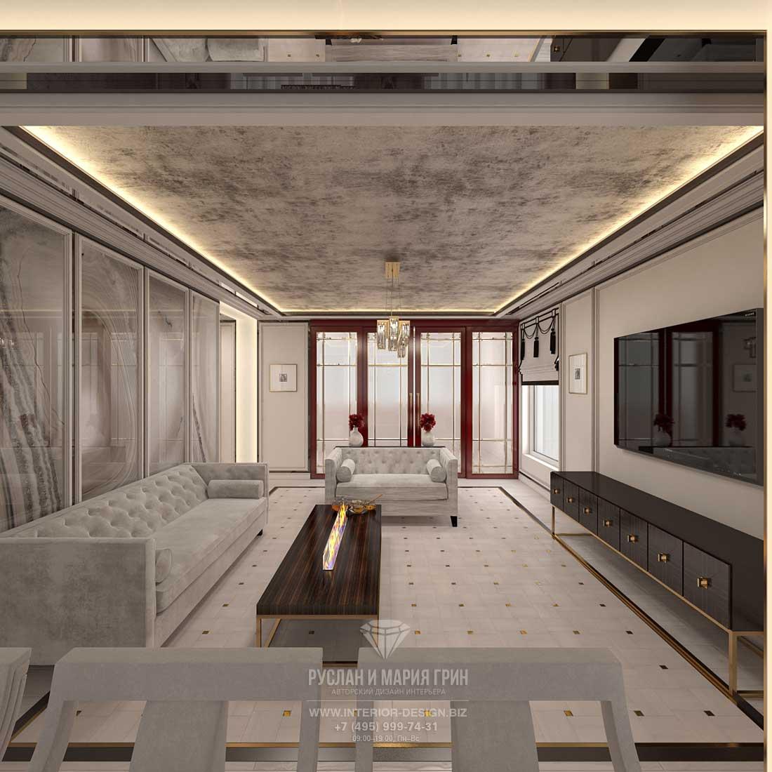 Дизайн-проект интерьера гостиной в пастельной гамме