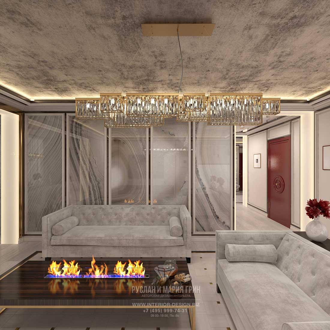 Ар-деко в интерьере гостиной с камином