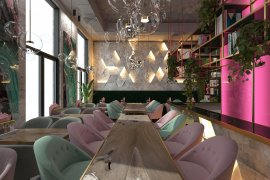 Coffee Shop 'Bagel' Interior Design (Residential complex 'Fili Grad', Moscow)