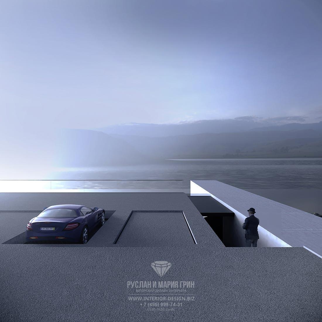Парковка для автомобилей на крыше современного особняка