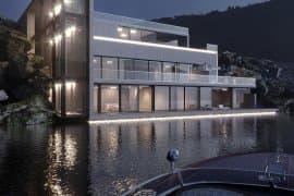 Дизайн фасада современного особняка на озере