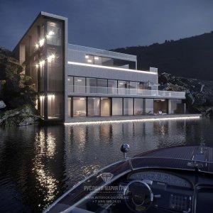 Фасад роскошного современного особняка на озере