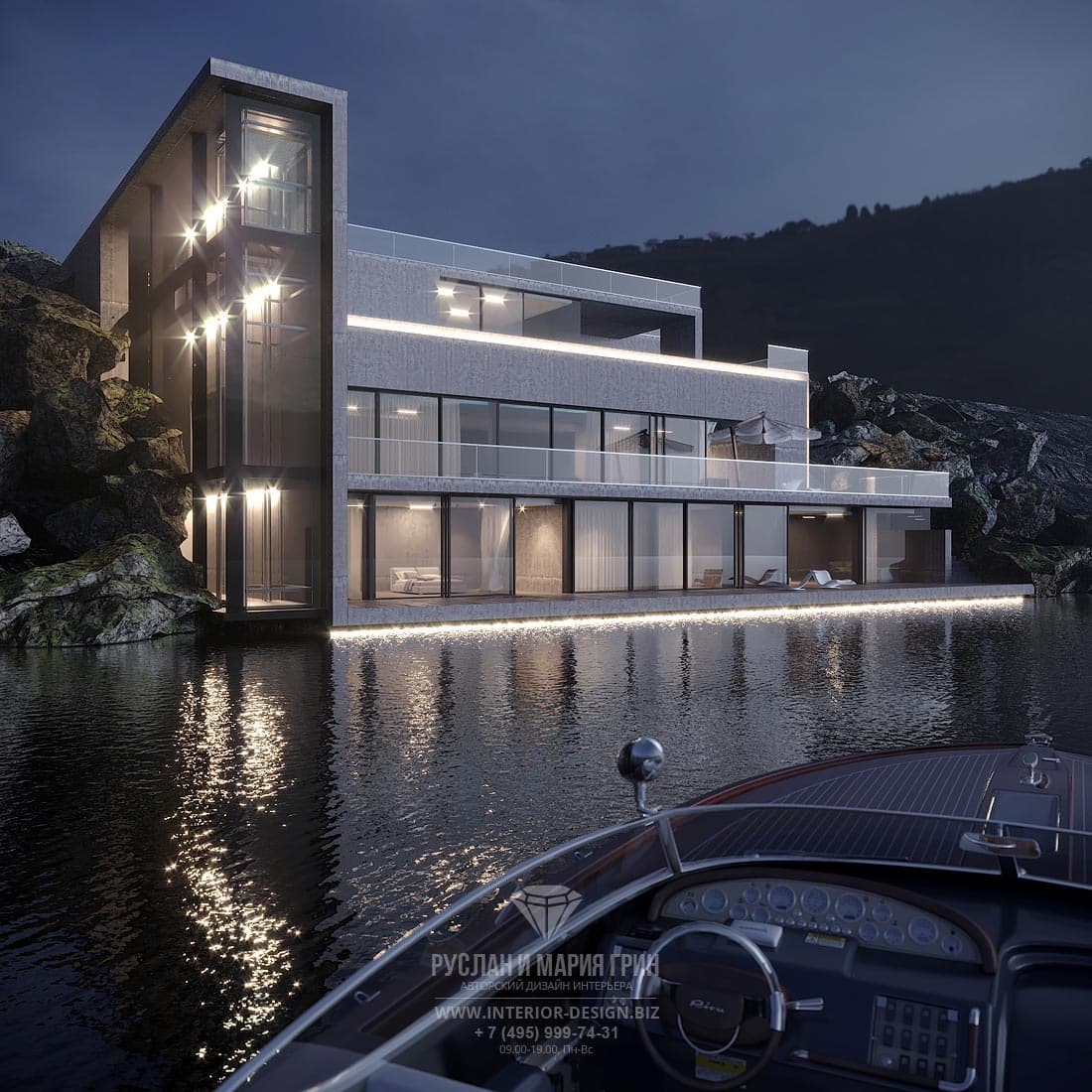 Фасад современного особняка на озере