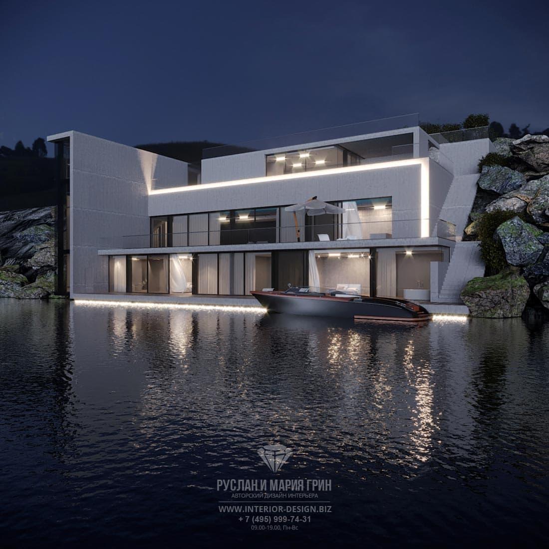 Фасад особняка на озере с подсветкой