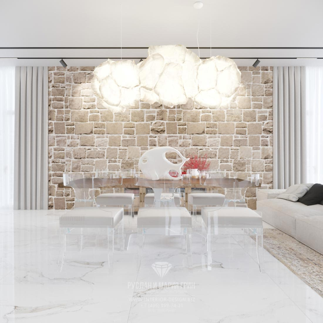Интерьер квартиры в светлых тонах в Тель-Авиве