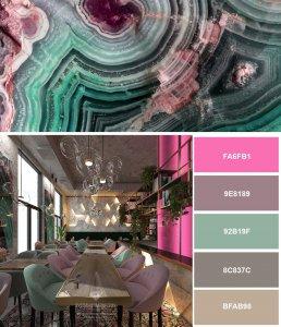 Модные цвета в интерьере кафе 2019