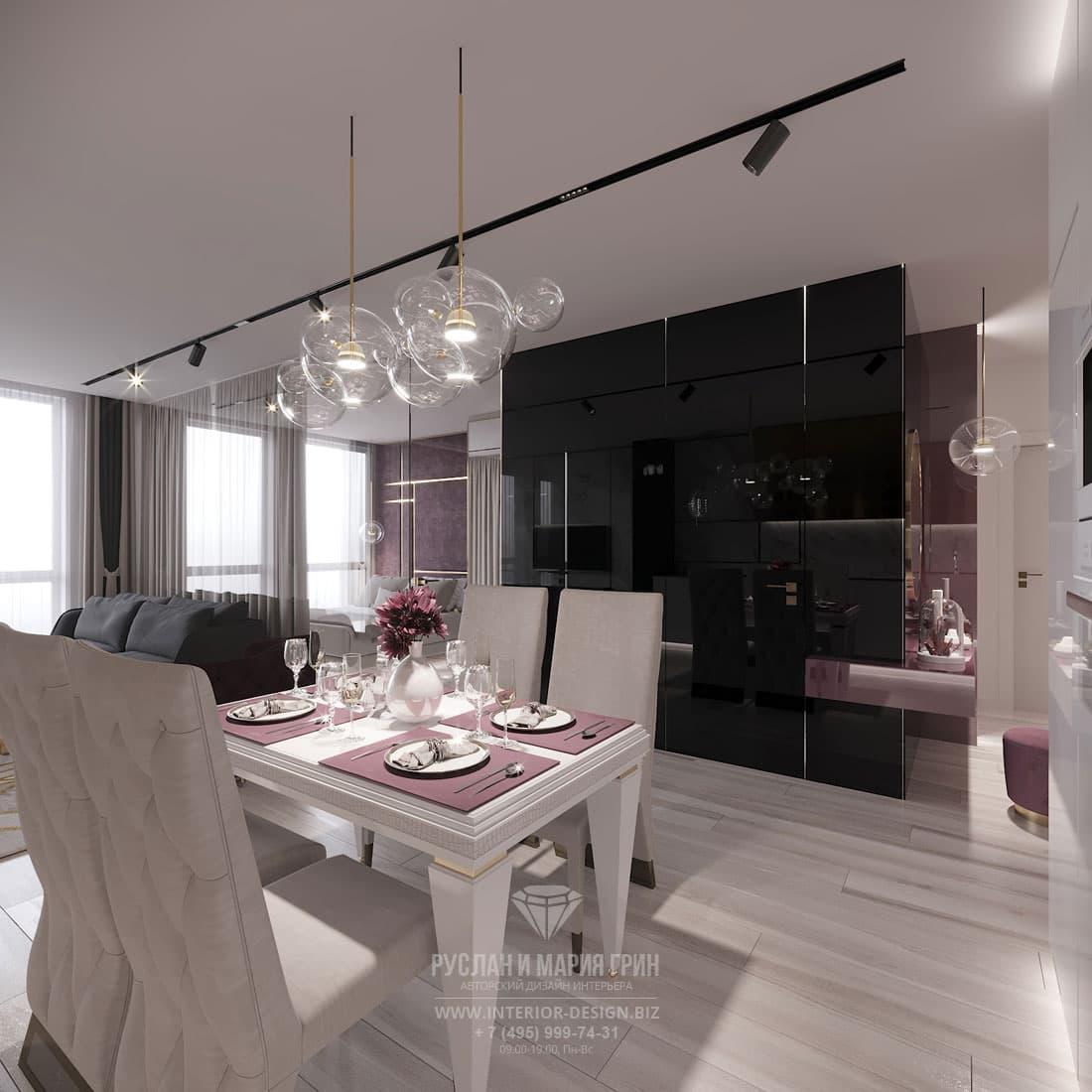 Современная столовая в интерьере просторной гостиной