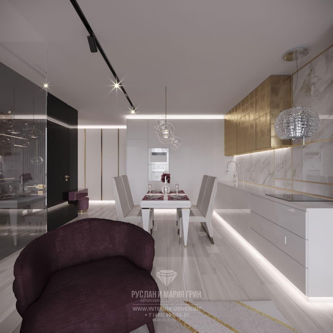 Интерьер просторной столовой в современном стиле