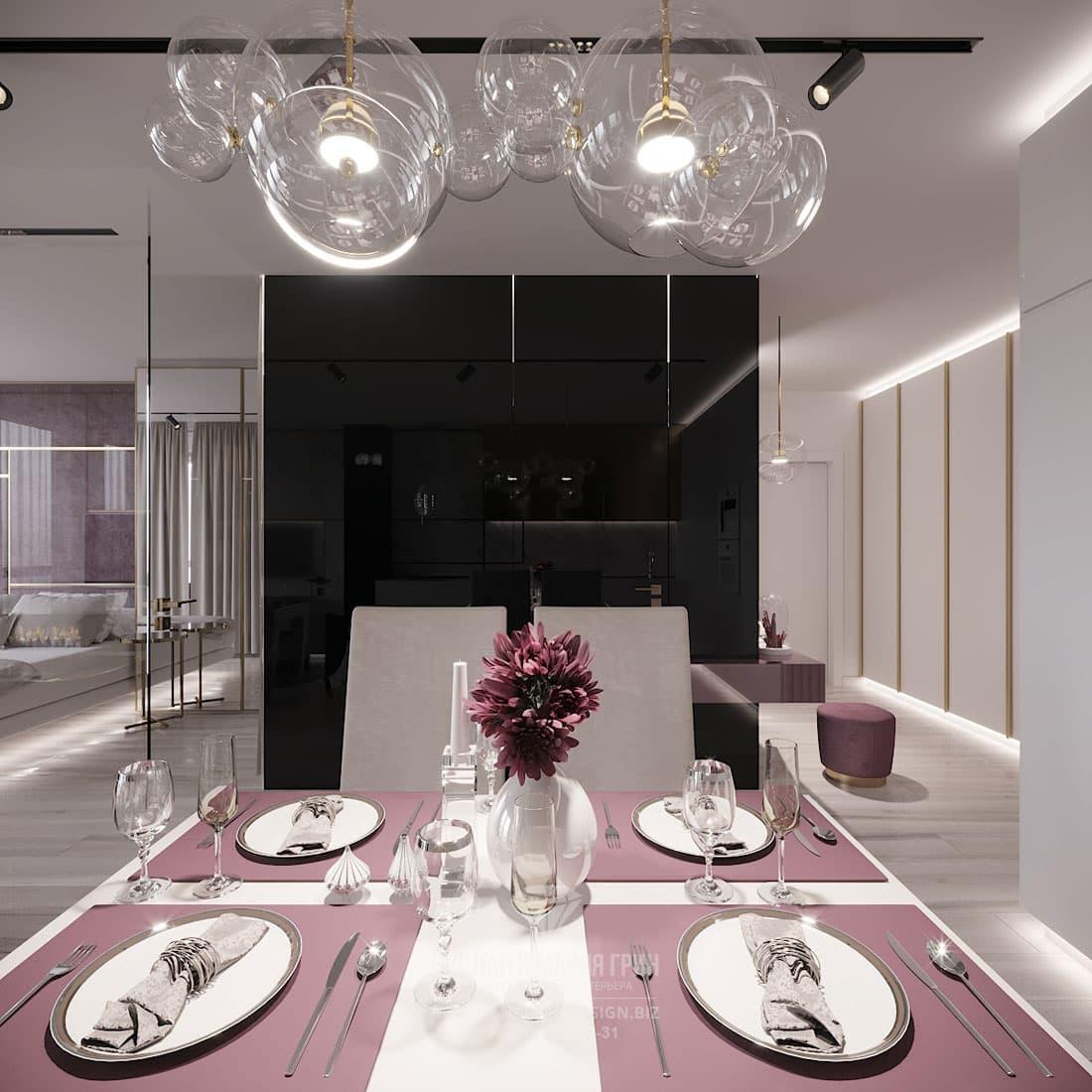 Дизайн интерьера столовой с марсаловыми акцентами