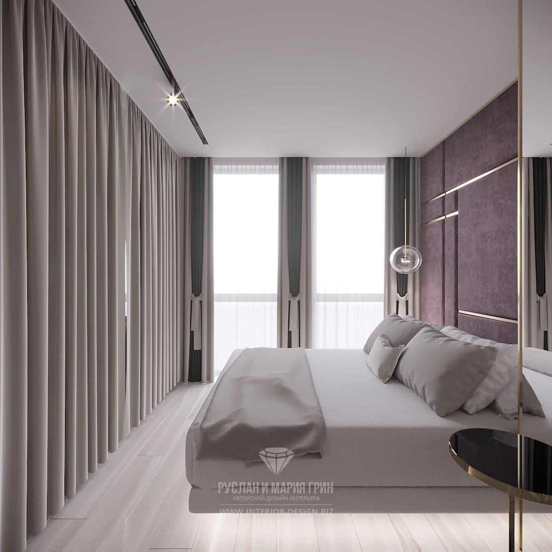 Дизайн спальни в бежевых тонах с акцентами