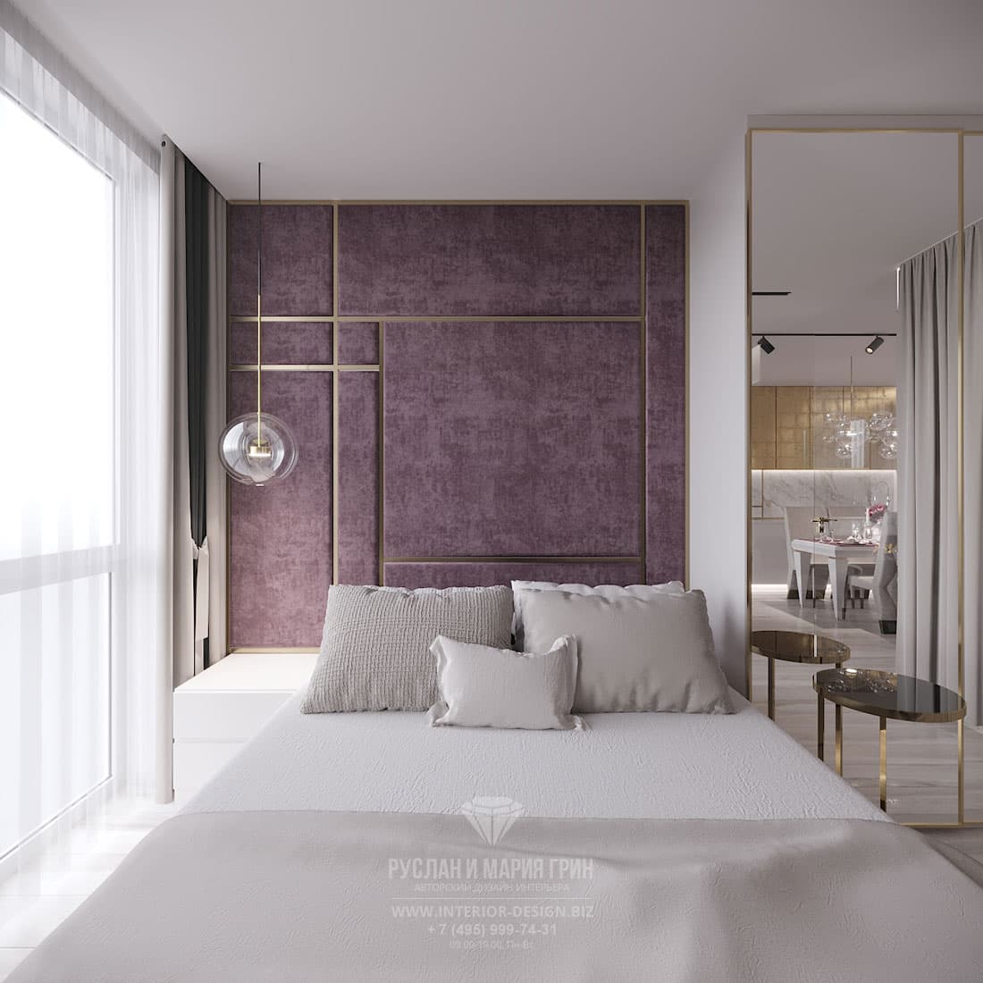 Дизайн интерьера спальни с мягким панно в изголовье кровати