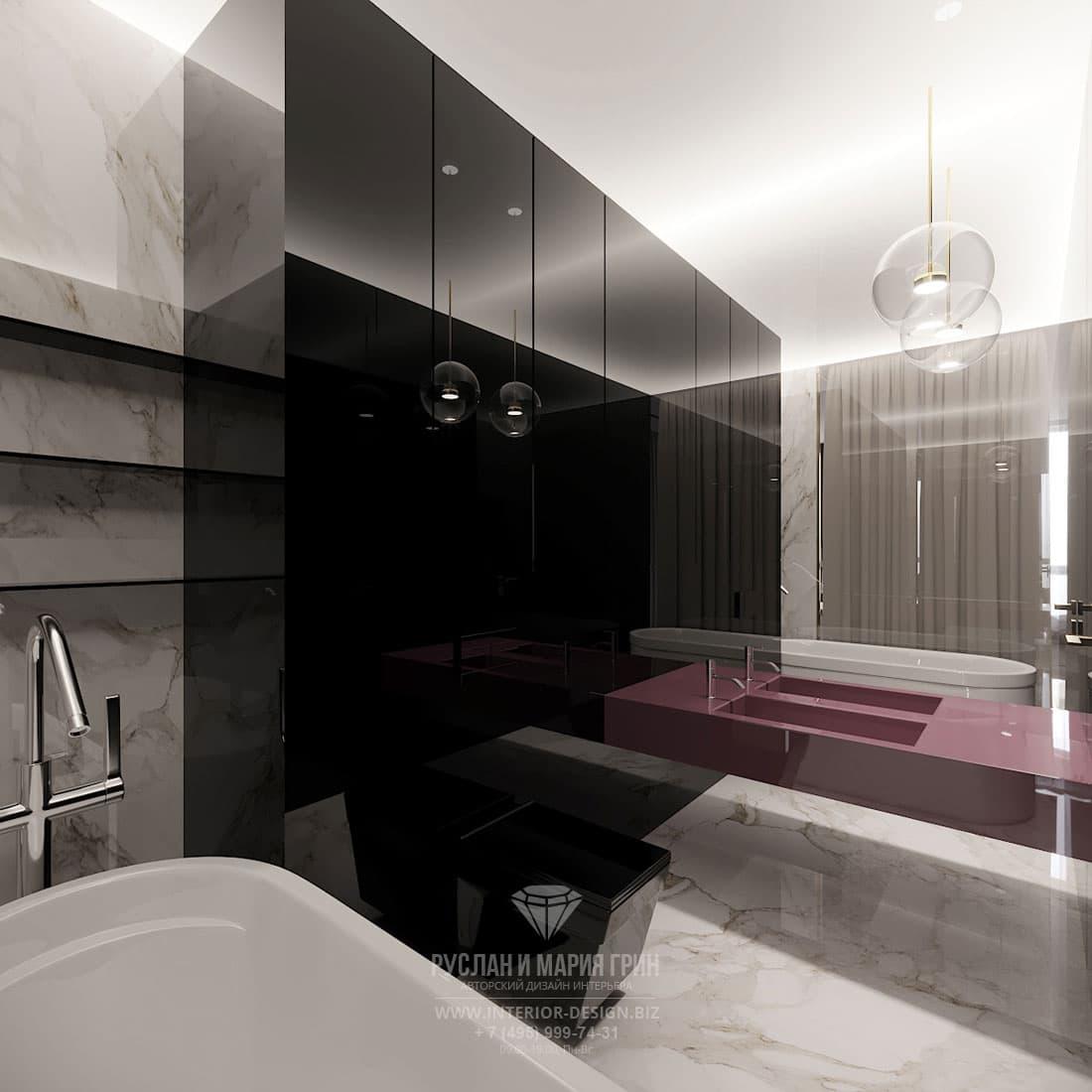 Современный стиль в дизайне ванной комнаты с мраморной отделкой