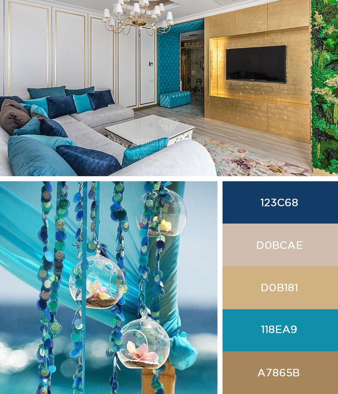 Интерьер квартиры в стиле ар-деко с синими и голубыми акцентами