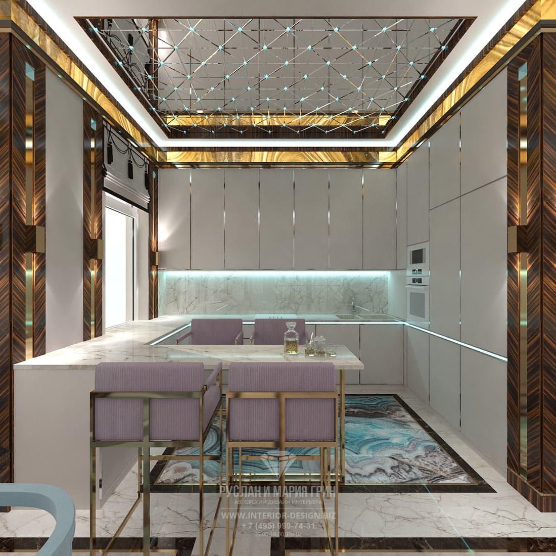 Дизайн-проект светлой кухни в стиле ар-деко
