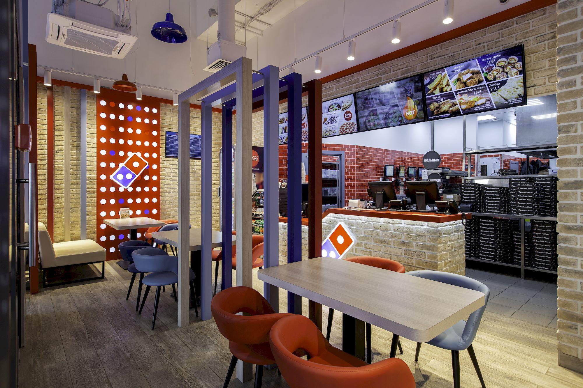 Дизайн интерьера пиццерии Domino's Pizza