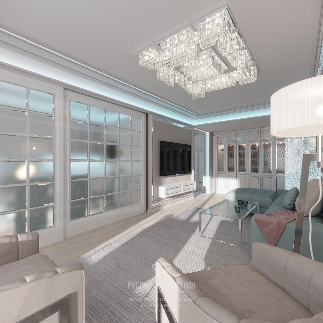 Современый арт-деко в дизайне светлой гостиной