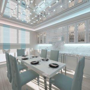 Кухня-столовая в стиле современного арт-деко