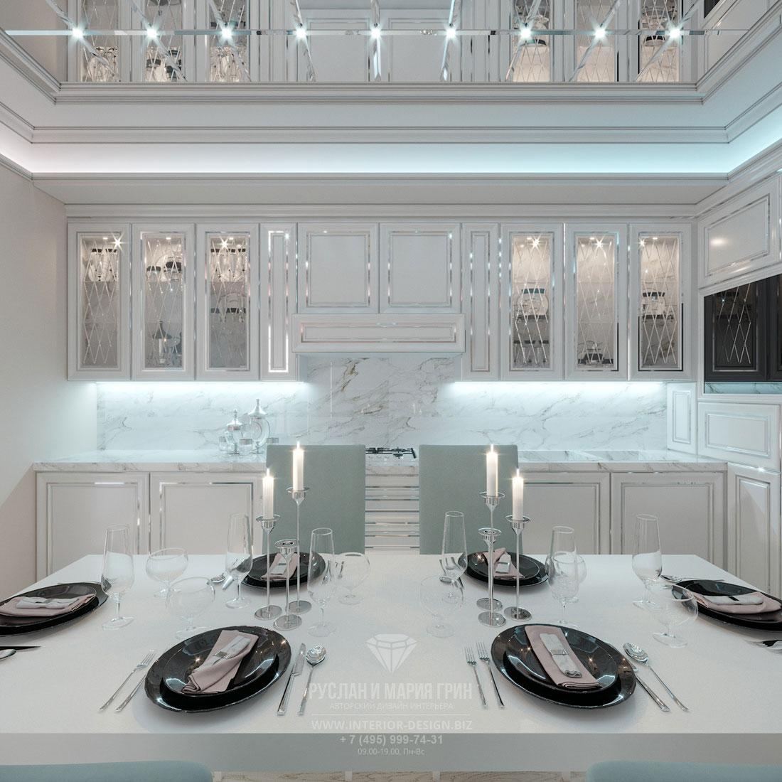 Дизайн интерьера кухни-столовой в стиле арт-деко