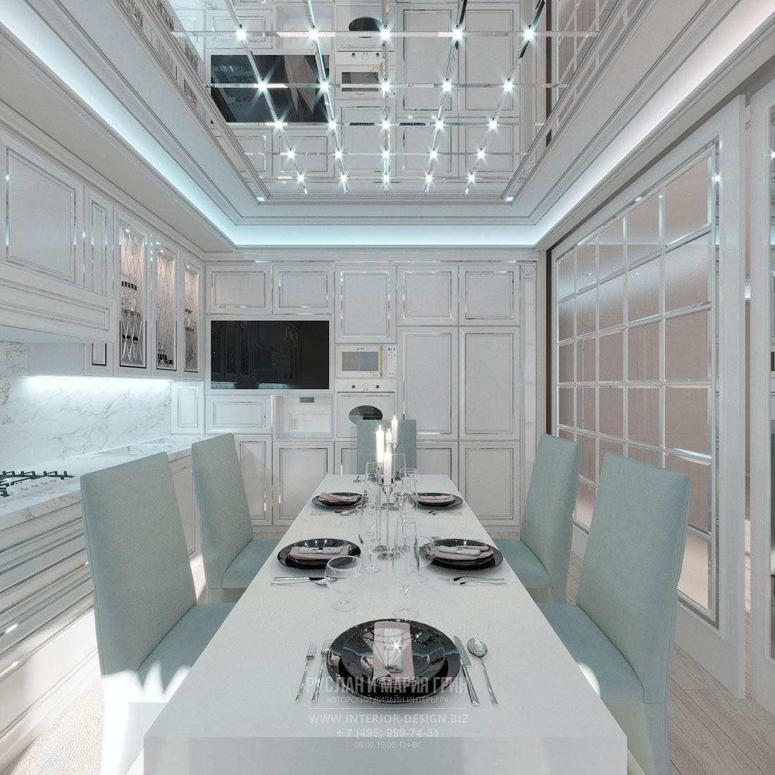 Дизайн интерьера кухни-столовой в стиле современного арт-деко