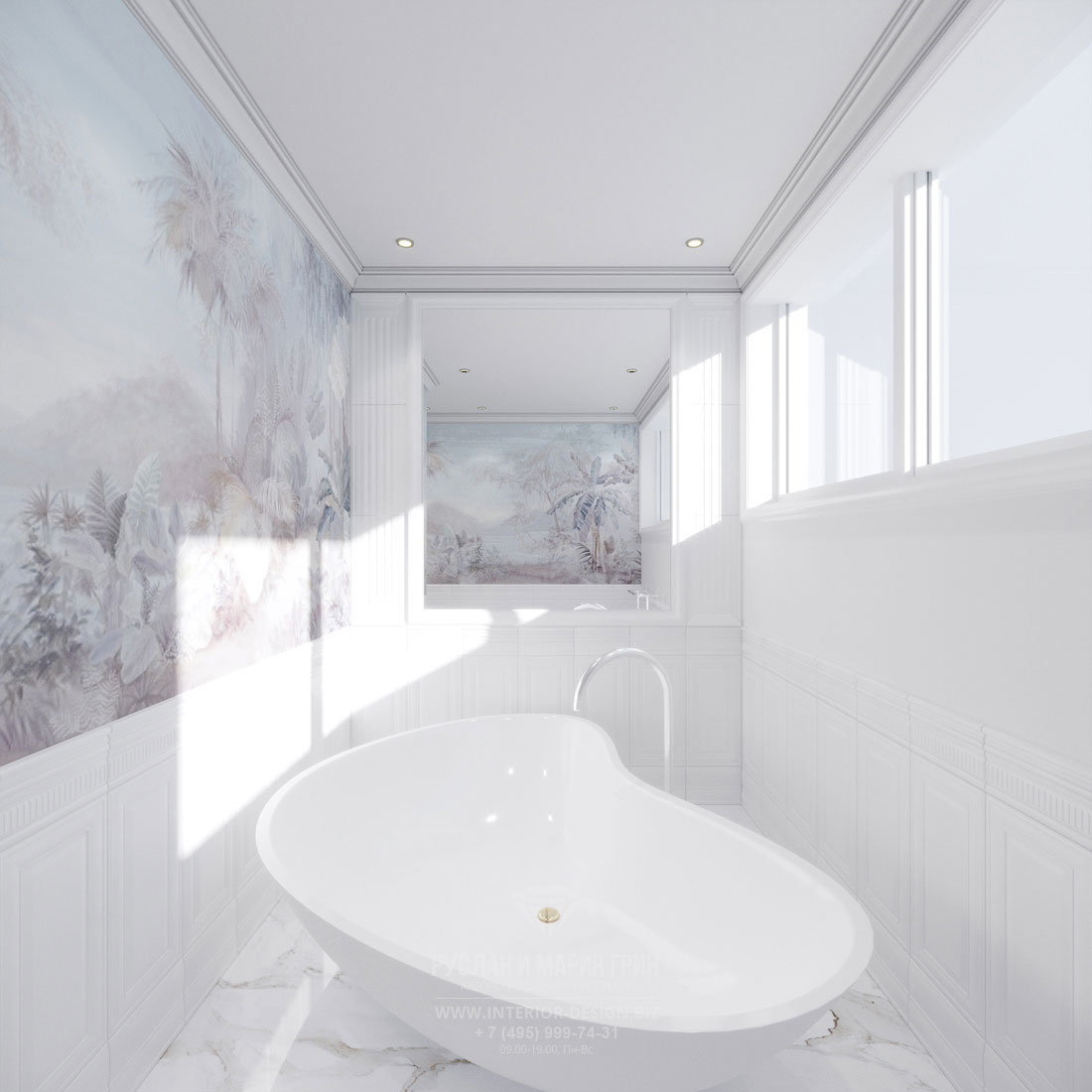 Роскошная светлая ванная комнаты
