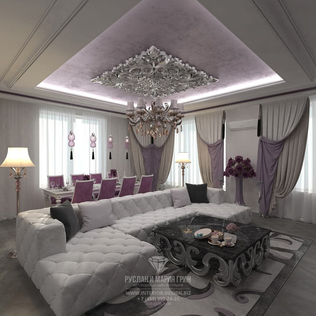 Интерьер светлой гостиной-столовой в классическом стиле с белым угловым диваном