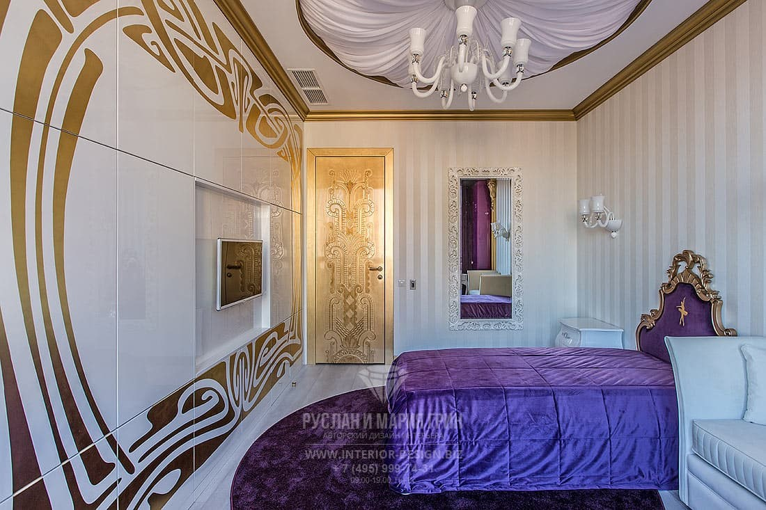 Дизайн классической спальни со встроенной системой хранения