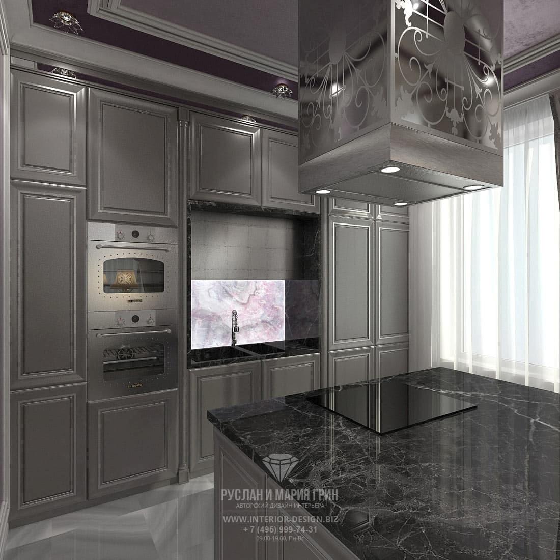 Классический стиль в дизайне кухни в серых тонах с функциональным островом