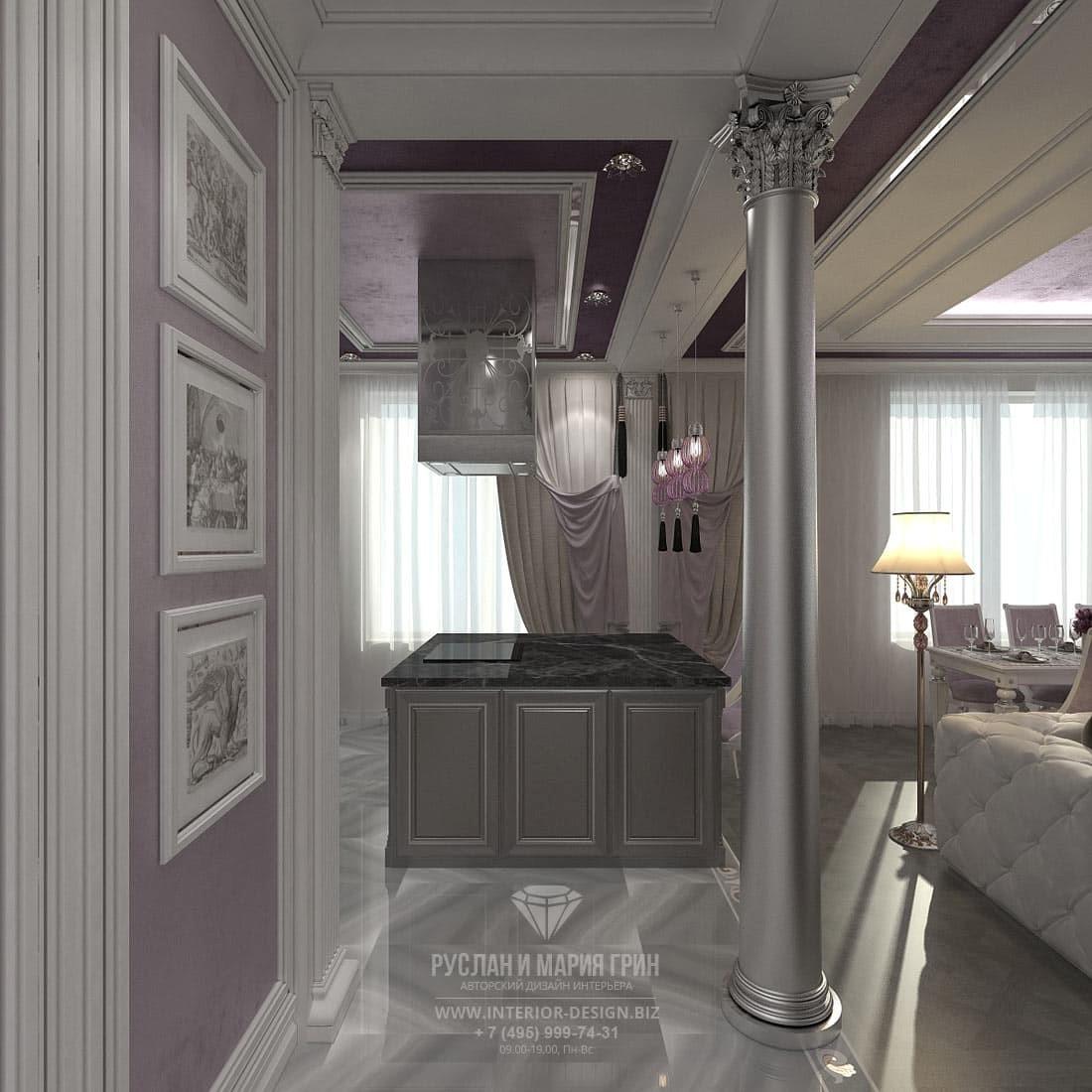 Дизайн кухни-гостиной трехкомнатной квартиры с круглой колонной