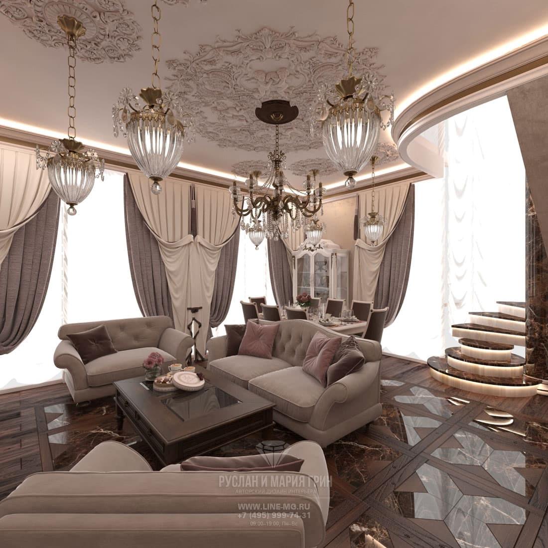 Дизайн классической гостиной в бежевых тонах в двухуровневой квартире