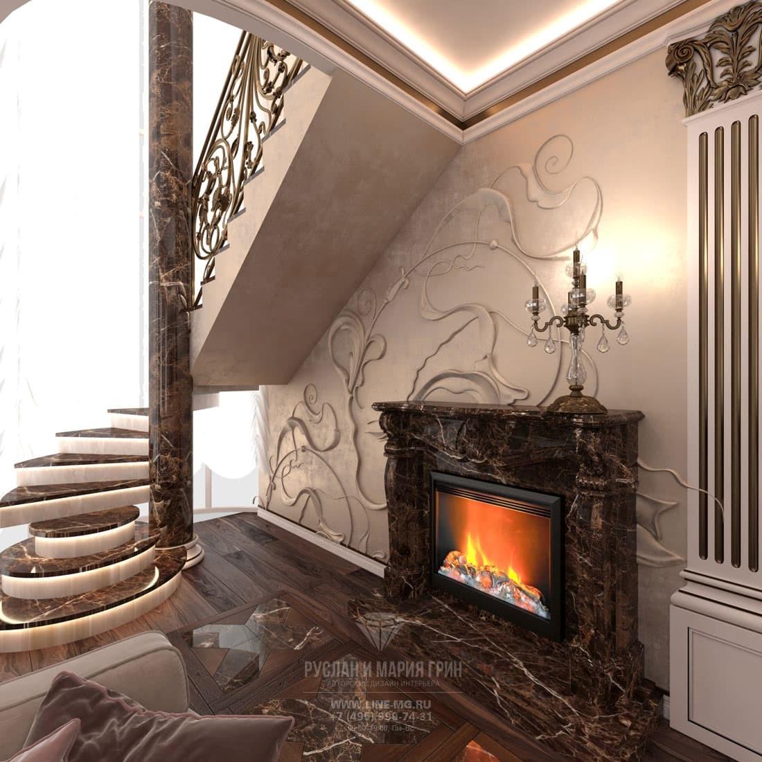 Интерьер гостиной в двухуровневой квартире с мраморным камином
