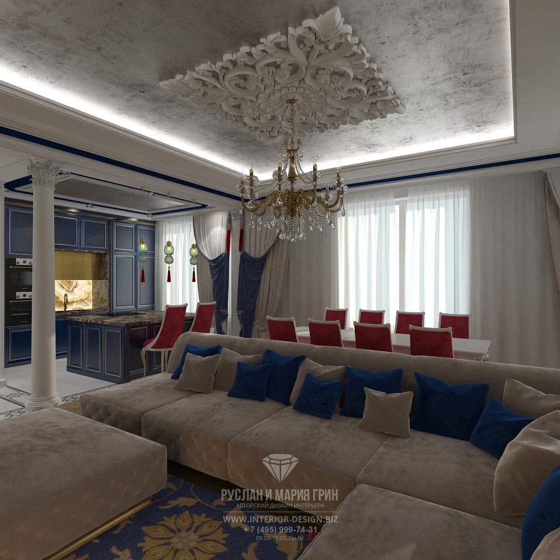 Классический дизайн кухни-гостиной в трехкомнатной квартире с яркими деталями