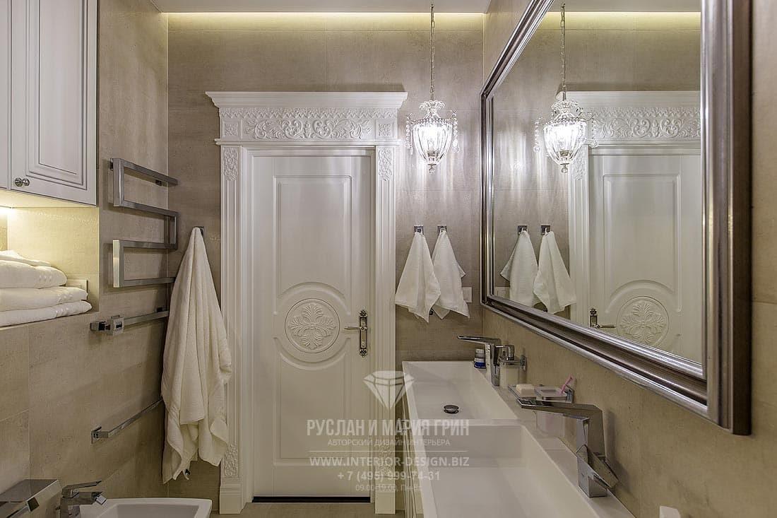 Дизайн модной ванной комнаты в стиле американская классика