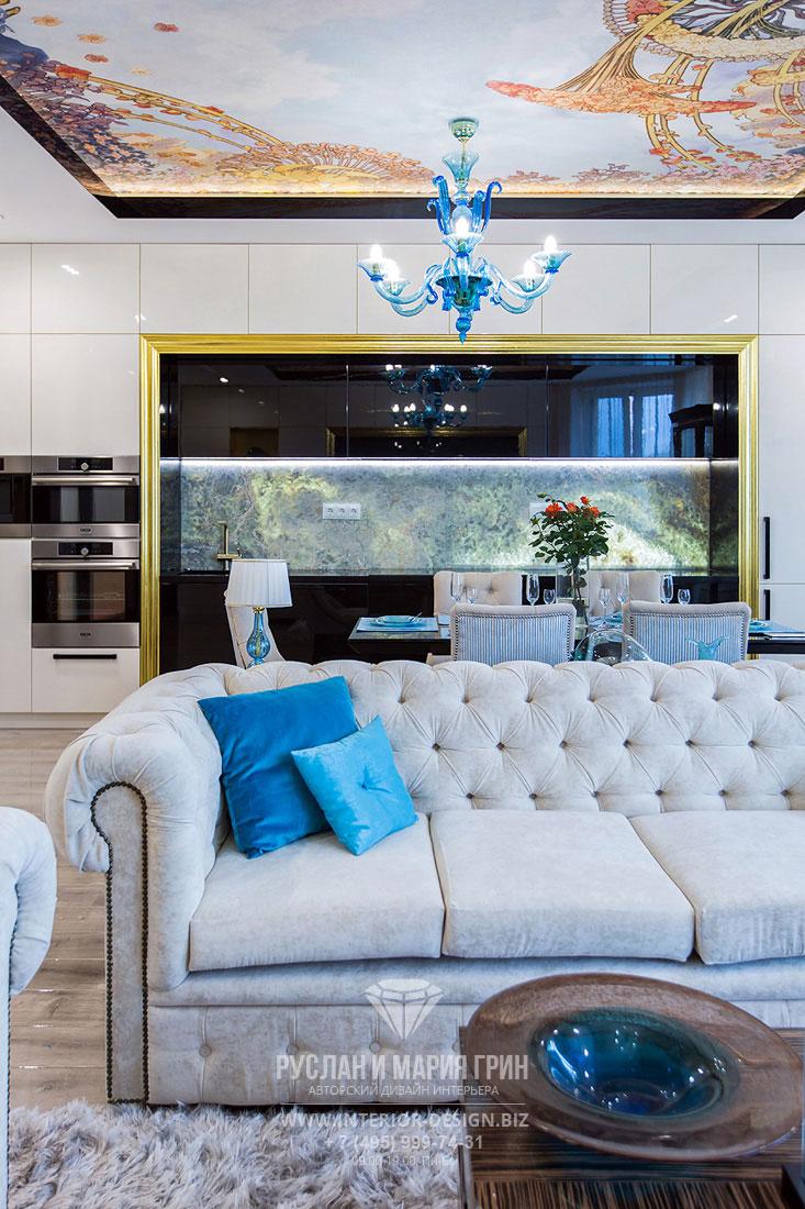 Дизайн интерьера гостиной в стиле совремнного арт-деко