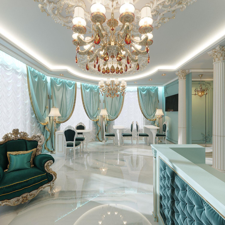 Дизайн бирюзового салона красоты в классическом стиле