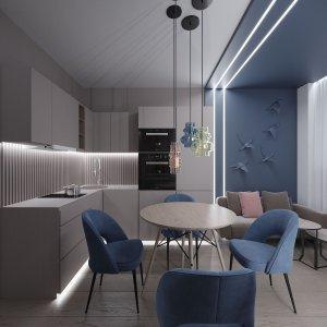 Кухня-столовая в современном стиле в маленькой квартире