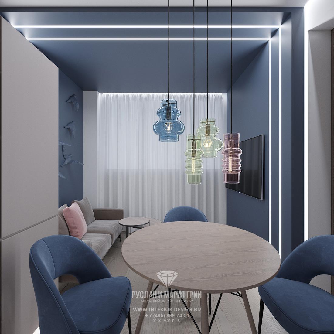 Дизайн маленькой кухни-гостиной в современном стиле