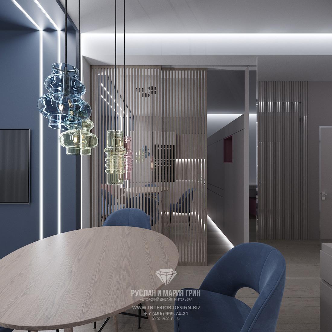 Кухня-гостиная в современном стиле с раздвижной перегородкой