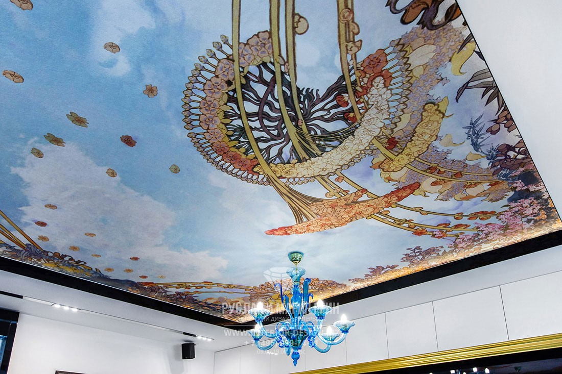 Дизайн современной гостиной с натяжным потолком, декорированным фотопечатью