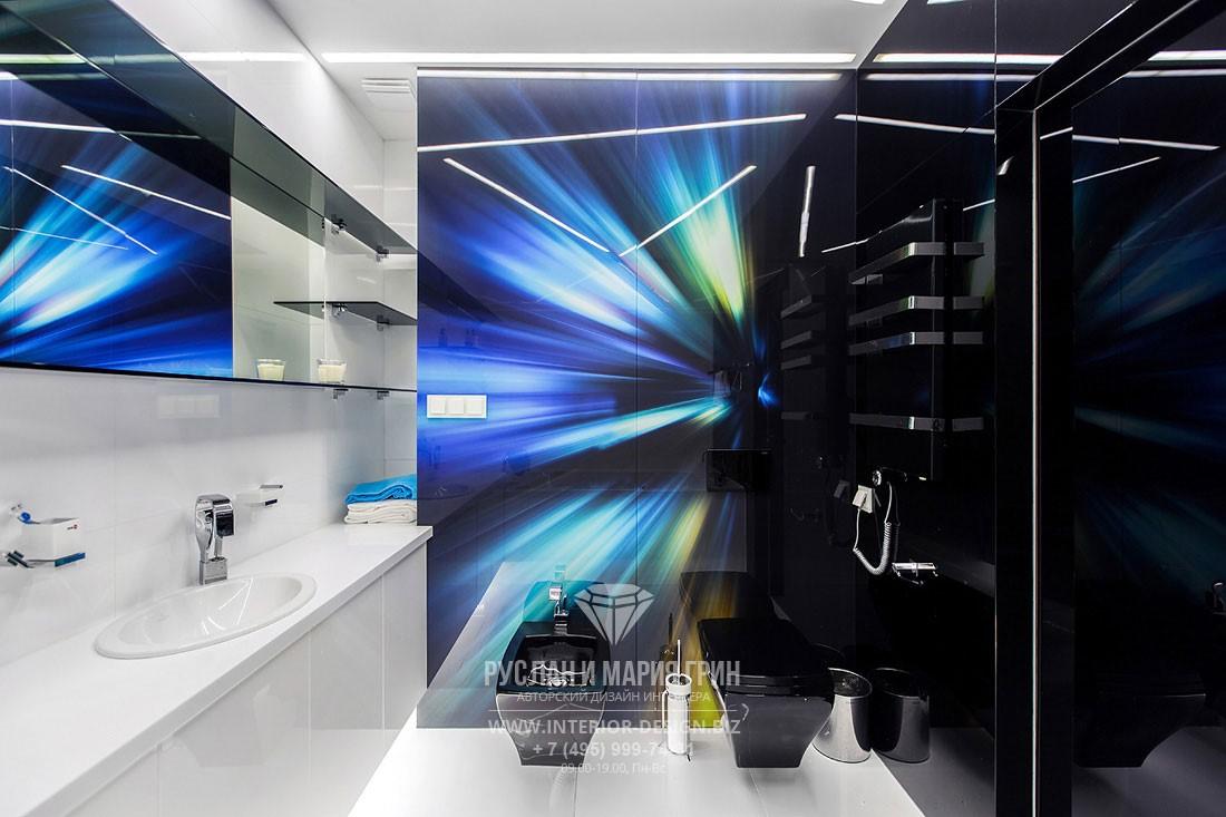Дизайн-проект современной ванной комнаты с декоративным панно