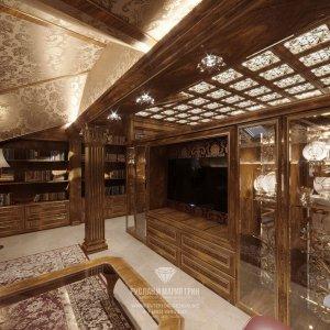 Дизайн интерьера библиотеки в доме в классическом стиле