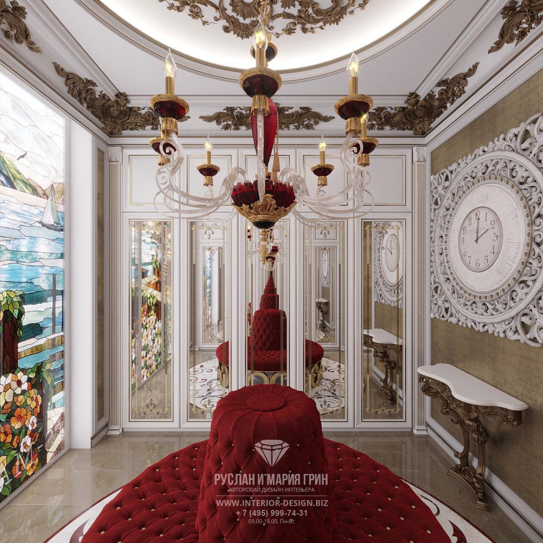 Дизайн интерьера гардеробной комнаты в доме в классическом стиле