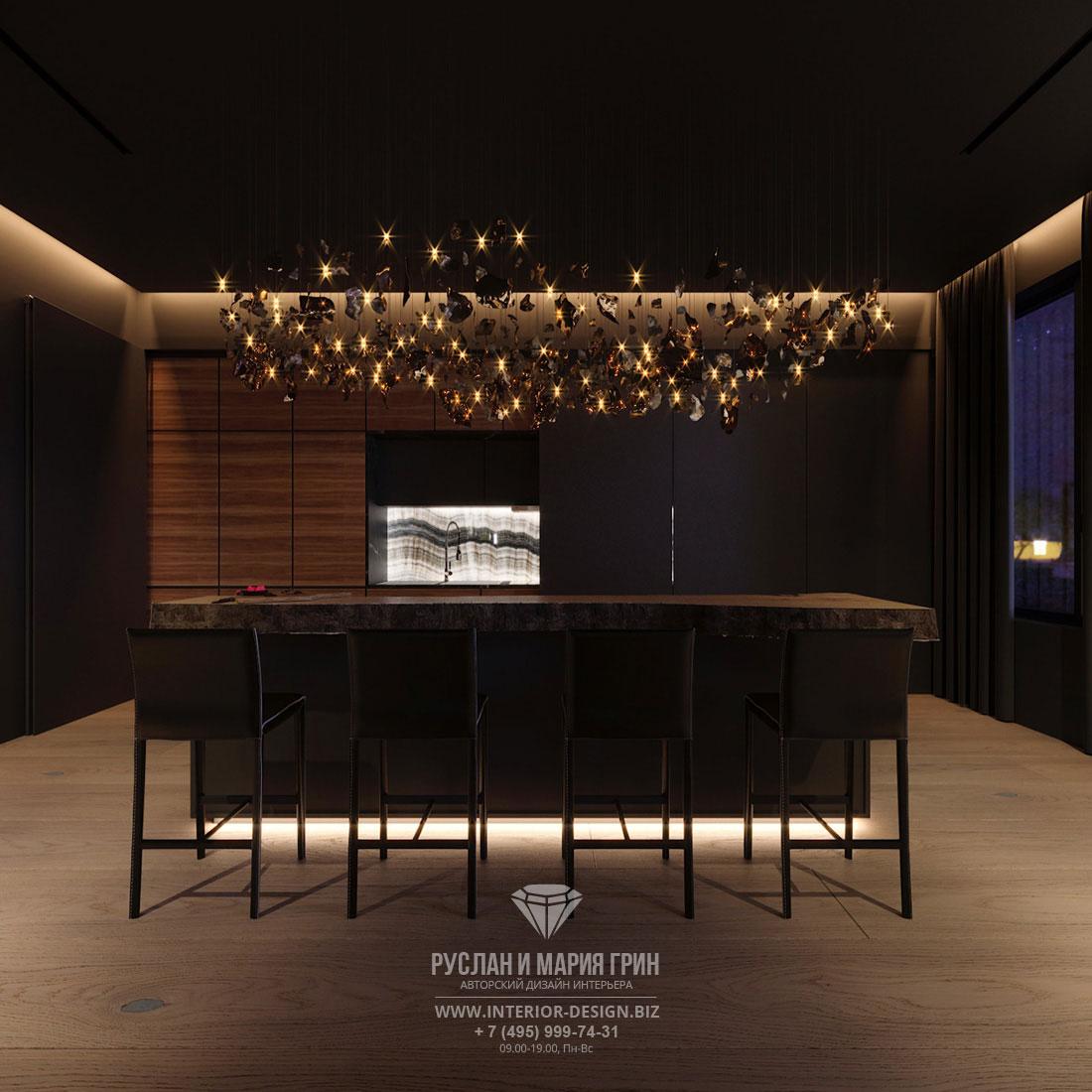 Дизайн интерьера зоны столовой в квартире холостяка