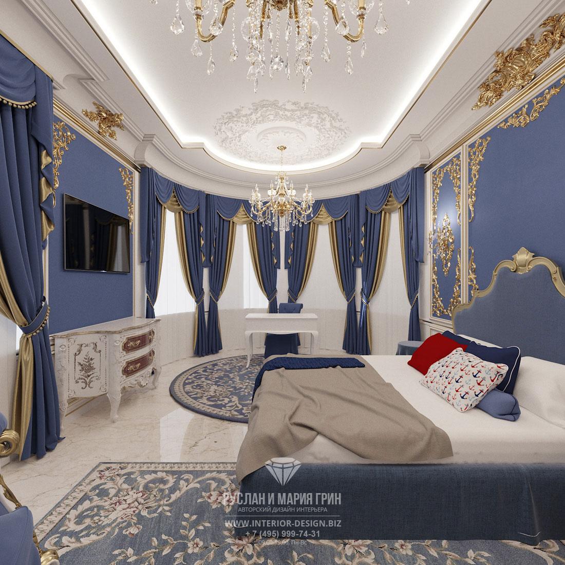 Дизайн интерьера спальни для мальчика в загородном доме в классическом стиле